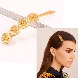 Versace Inspired Medusa Gold Hair Pin 2 Piece Set
